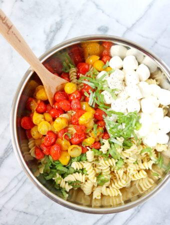 Caprese Pasta Salad with Roasted Cherry Tomatoes