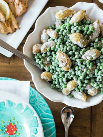 Roasted Fingerling Potatoes and Baby Peas with Creamy Dill Dressing